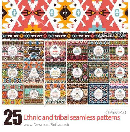 دانلود پترن های متنوع برای پس زمینه از فتولیا - Fotolia Ethnic and tribal seamless patterns for wallpapers