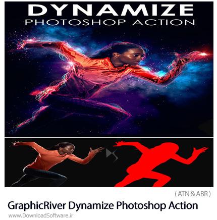 دانلود اکشن فتوشاپ ایجاد افکت خطوط نورانی درخشان بر روی تصاویر از گرافیک ریور - GraphicRiver Dynamize Photoshop Action