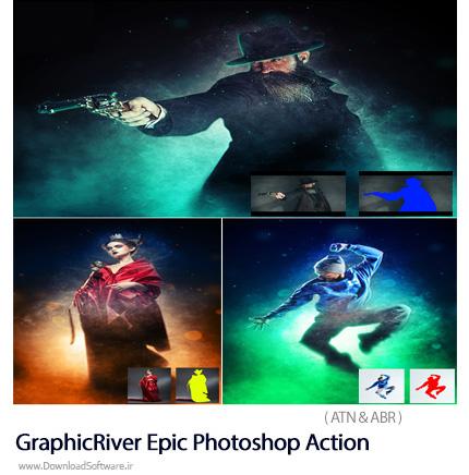 دانلود اکشن فتوشاپ ایجاد افکت درخشان بر روی تصاویر از گرافیک ریور - GraphicRiver Epic Photoshop Action