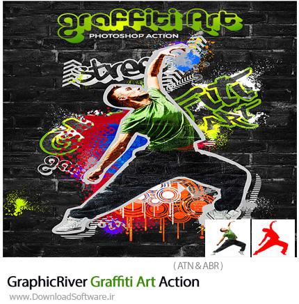 دانلود اکشن فتوشاپ ایجاد افکت هنری گرافیتی بر روی تصاویر از گرافیک ریور - GraphicRiver Graffiti Art Action