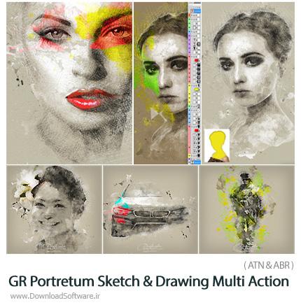 دانلود اکشن فتوشاپ تبدیل تصاویر به طرح اولیه نقاشی از گرافیک ریور - GraphicRiver Portretum Sketch And Drawing PS Multi Action