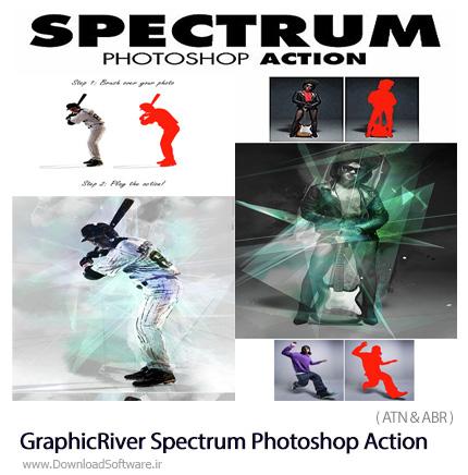 دانلود اکشن فتوشاپ ایجاد افکت طیف رنگی بر روی تصاویر از گرافیک ریور - GraphicRiver Spectrum Photoshop Action