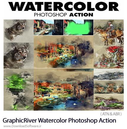 دانلود اکشن فتوشاپ تبدیل تصاویر به نقاشی آبرنگی از گرافیک ریور - GraphicRiver Watercolor Photoshop Action