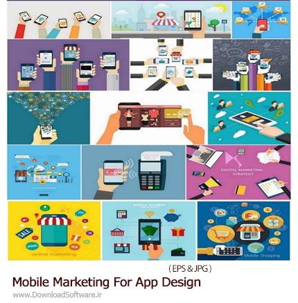 دانلود تصاویر وکتور عناصر طراحی فروشگاه های اینترنتی برای برنامه های موبایل - Mobile Marketing For App Design