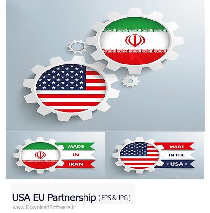 دانلود تصاویر وکتور مشارکت ایران و آمریکا، پرچم ایران و آمریکا - USA EU Partnership