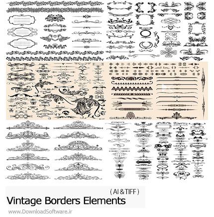 دانلود تصاویر وکتور عناصر تزئینی قدیمی، فریم، قاب و حاشیه، بت و جقه - Vectors Vintage Borders Elements