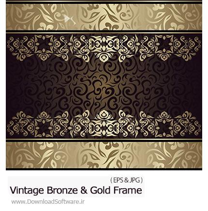 دانلود تصاویر وکتور فریم های قدیمی با طرح های انتزاعی برنز و طلایی - Vintage Abstract Bronze And Gold Frame
