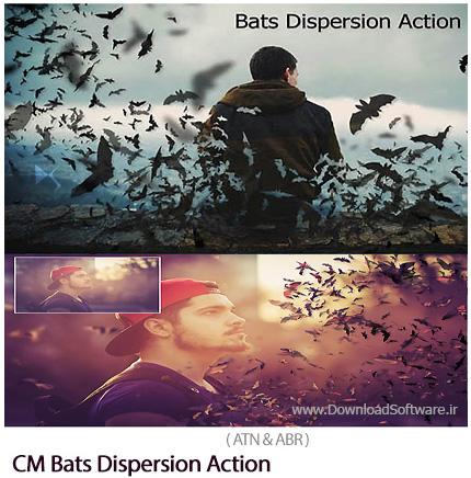 دانلود اکشن فتوشاپ ایجاد افکت خفاش های پراکنده بر روی تصاویر - CM Bats Dispersion Action