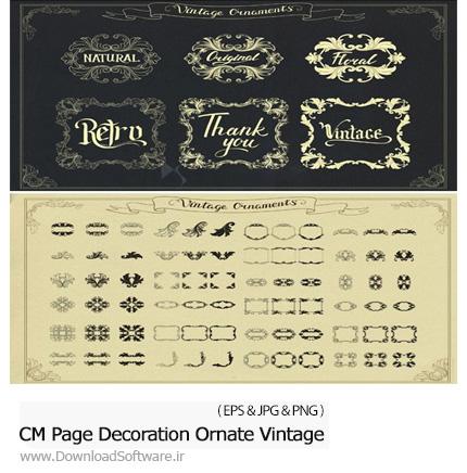 دانلود تصاویر وکتور عناصر تزئینی قدیمی، فریم و قاب و حاشیه برای دیزاین صفحه - CM Page Decoration Ornate Vintage