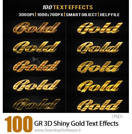 دانلود 100 تصویر لایه باز افکت های طلایی درخشان از گرافیک ریور - GraphicRiver 3D Shiny Gold Text Effects