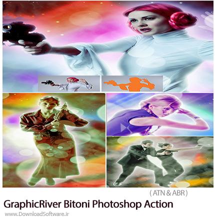 دانلود اکشن فتوشاپ ایجاد افکت رنگی و بوکه بر روی تصاویر از گرفیک ریور - GraphicRiver Bitoni Photoshop Action