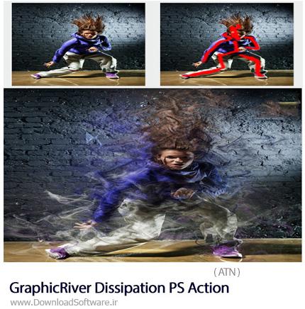 دانلود اکشن فتوشاپ ایجاد افکت انتشار ذرات بر روی تصاویر از گرافیک ریور - GraphicRiver Dissipation PS Action