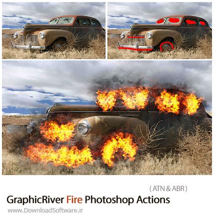 دانلود اکشن فتوشاپ ایجاد افکت آتش بر روی تصاویر از گرافیک ریور - GraphicRiver Fire Photoshop Actions