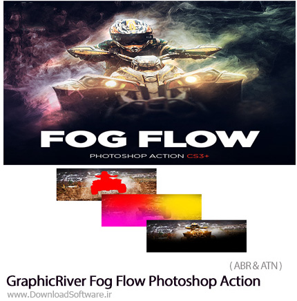 دانلود اکشن فتوشاپ ایجاد افکت مه و بخار بر روی تصاویر از گرافیک ریور - GraphicRiver Fog Flow Photoshop Action