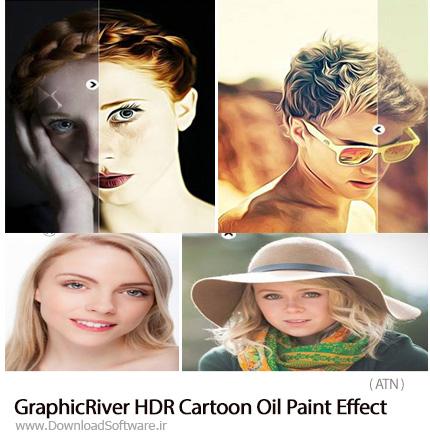 دانلود اکشن فتوشاپ ایجاد افکت نقاشی کارتونی رنگ روغن بر روی تصاویر از گرافیک ریور - GraphicRiver HDR Cartoon Oil Paint Effect