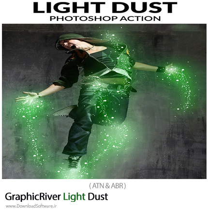 دانلود اکشن فتوشاپ ایجاد افکت گرد و غبار نورانی بر روی تصاویر از گرافیک ریور - GraphicRiver Light Dust