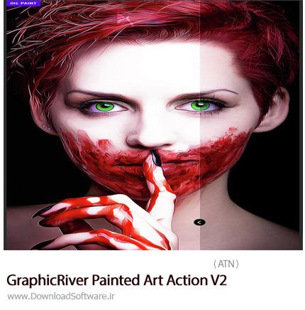 دانلود اکشن فتوشاپ ایجاد افکت هنری نقاشی بر روی تصاویر از گرافیک ریور - GraphicRiver Painted Art Action V2