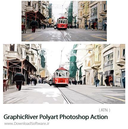 دانلود اکشن فتوشاپ ایجاد افکت هنری چندضلعی بر روی تصاویر از گرافیک ریور - GraphicRiver Polyart Photoshop Action