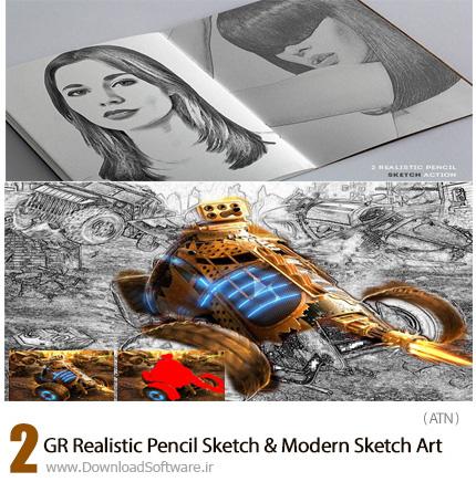 دانلود 2 اکشن فتوشاپ تبدیل تصاویر به طرح اولیه نقاشی مدرن از گرافیک ریور - GraphicRiver Realistic Pencil Sketch And Modern Sketch Art Action
