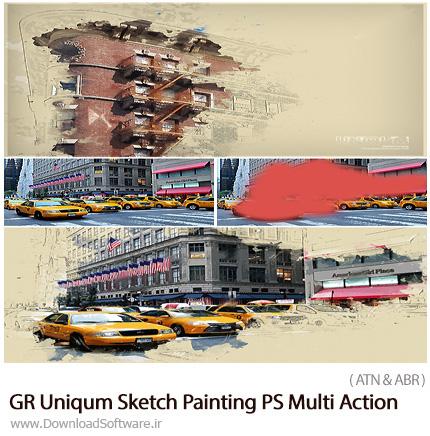 دانلود اکشن فتوشاپ ایجاد افکت طرح اولیه نقاشی بر روی تصاویر از گرافیک ریور - GraphicRiver Uniqum Sketch Painting PS Multi Action