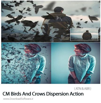 دانلود 2 اکشن فتوشاپ ایجاد افکت پرنده و کلاغ های پراکنده بر روی تصاویر - CM Birds And Crows Dispersion Action