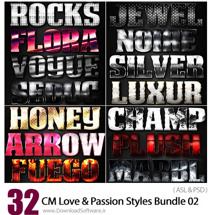 دانلود مجموعه تصاویر لایه باز استایل با افکت های متنوع - CM Love And Passion Styles Bundle 02