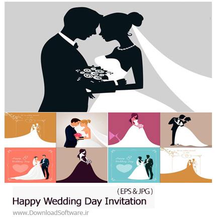 دانلود تصاویر وکتور طرح های کارت تبریک عروسی - Happy Wedding Day Invitation