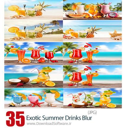 دانلود تصاویر با کیفیت نوشیدنی های خنک تابستان کنار ساحل محو - Stock Image Exotic Summer Drinks Blur Sandy Beach
