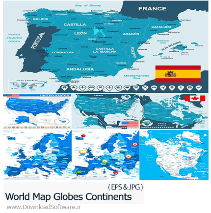 دانلود تصاویر وکتور نقشه جهان و کشورهای مختلف و آیکون های جهت یابی - World Map Globes Continents Navigation Icons Stock Vector