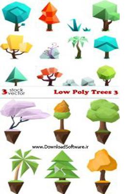دانلود تصویر وکتور درخت Vectors - Low Poly Trees 3