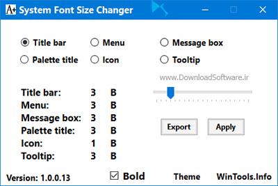 دانلود System Font Size Changer نرم افزار تغییر سایز فونت سیستم