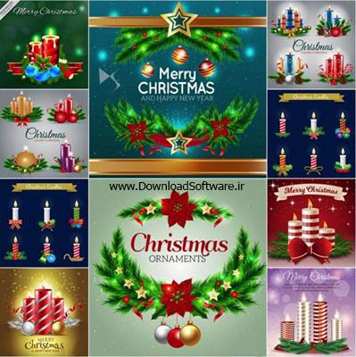 دانلود تصاویر وکتور کریسمس و شمع ها