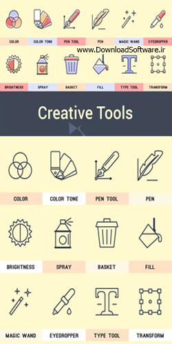 دانلود تصاویر آیکون ابزارهای خلاقانه