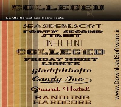 دانلود فونت انگلیسی Old School & Retro Fonts Collection