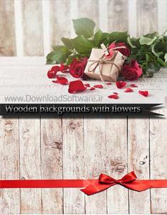 دانلود تصاویر پس زمینه چوبی با گل های زیبا