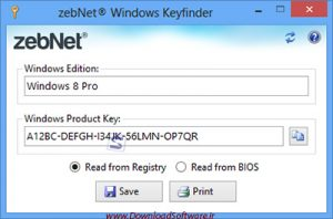 دانلود zebNet Windows Keyfinder نرم افزار پیدا کردن سریال ویندوز