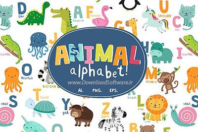 دانلود مجموعه وکتور حروف الفبای حیوانات