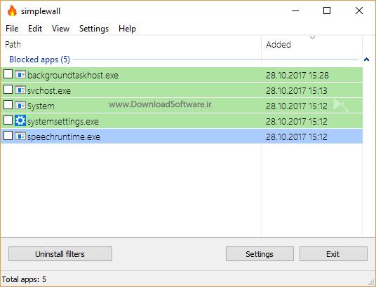 دانلود SimpleWall نرم افزار مدیریت فیلتر های ویندوز