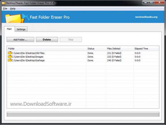 دانلود Fast Folder Eraser Pro نرم افزار حذف سریع پوشه ها