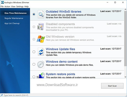دانلود Auslogics Windows Slimmer - نرم افزار بهبود عملکرد سیستم کامپیوتر
