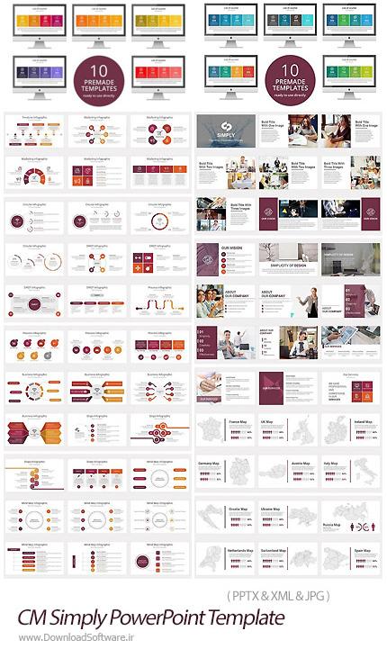 دانلود قالب آماده و حرفه ای پاورپوینت تجاری - CM Simply PowerPoint Template