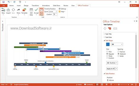 دانلود Office Timeline+ - دانلود افزونه برای پاورپوینت