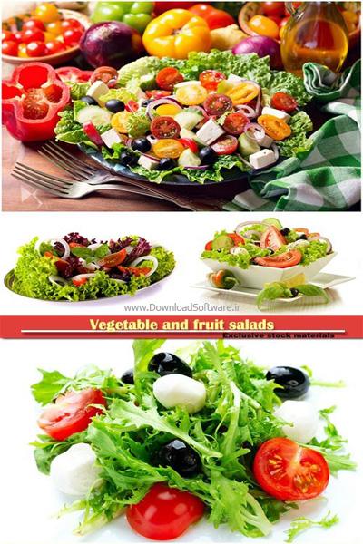 عکس استوک سالاد سبزیجات و میوه ها
