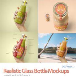 دانلود تصاویر موکاپ مدلهای بطری شیشه ای واقعی